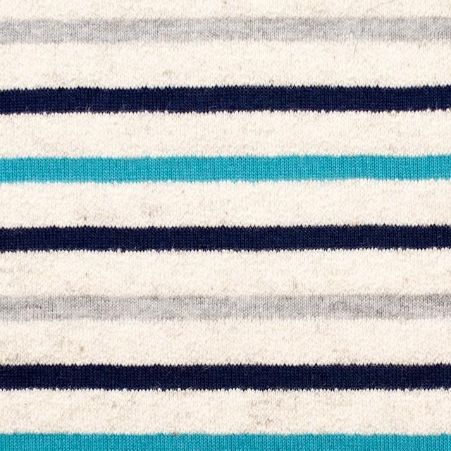 コットン&リネン×ボーダー(ターコイズ&グレー)×天竺ニット_全2色 イメージ1