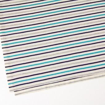 コットン&リネン×ボーダー(ターコイズ&グレー)×天竺ニット_全2色 サムネイル2