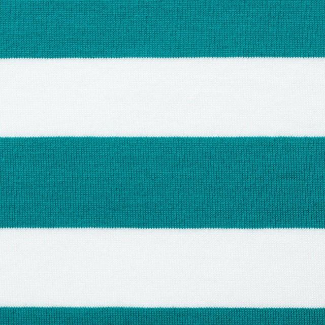 コットン×ボーダー(エメラルドグリーン)×天竺ニット_全3色 イメージ1