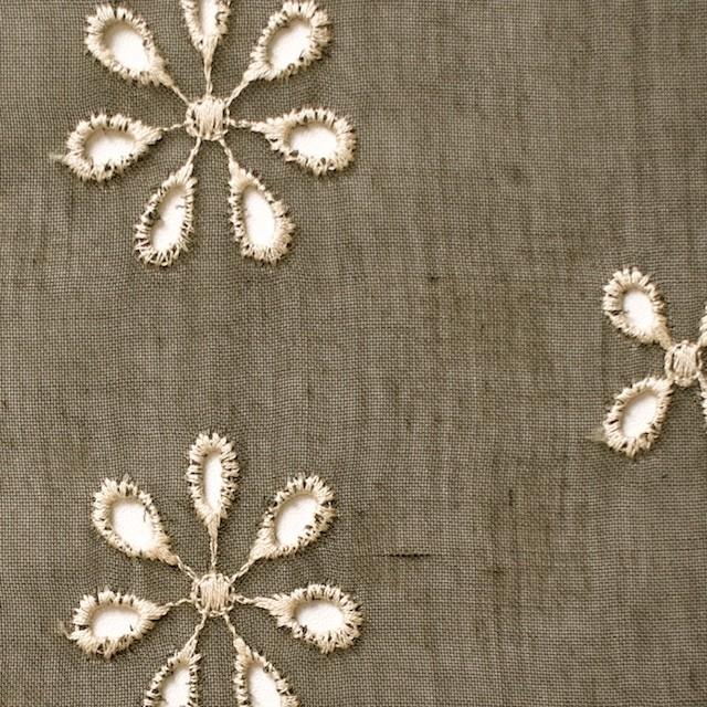ポリエステル×フラワー(カーキグリーン)×ボイル刺繍(着分)_全3色 イメージ1