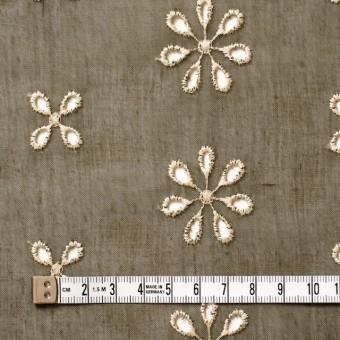 ポリエステル×フラワー(カーキグリーン)×ボイル刺繍(着分)_全3色 サムネイル4