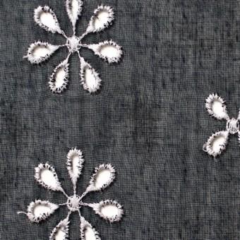 ポリエステル×フラワー(ブラック)×ボイル刺繍(着分)_全3色 サムネイル1