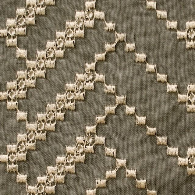ポリエステル×ウェーブ(カーキグリーン)×ボイル刺繍(着分)_全3色 イメージ1
