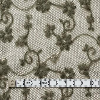 ナイロン×フラワー(カーキグリーン)チュール刺繍(着分) サムネイル4