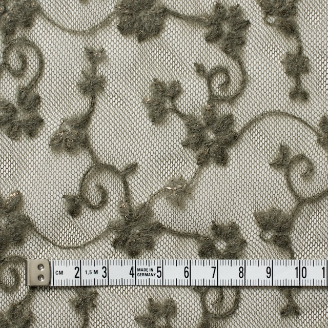 ナイロン×フラワー(カーキグリーン)チュール刺繍(着分) イメージ4