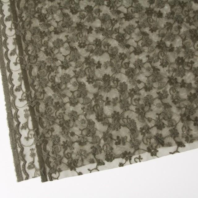 ナイロン×フラワー(カーキグリーン)チュール刺繍(着分) イメージ2