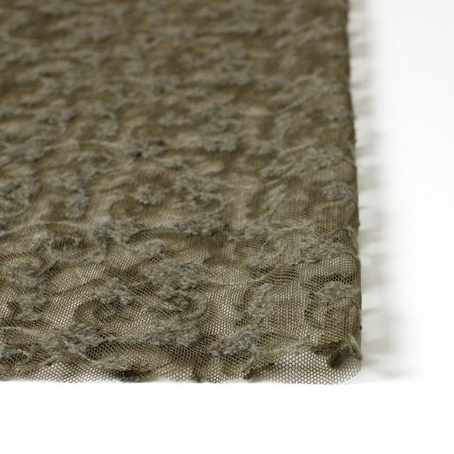 ナイロン×フラワー(カーキグリーン)チュール刺繍(着分) イメージ3