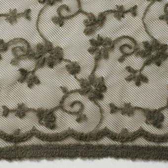 ナイロン×フラワー(カーキグリーン)チュール刺繍(着分) サムネイル1