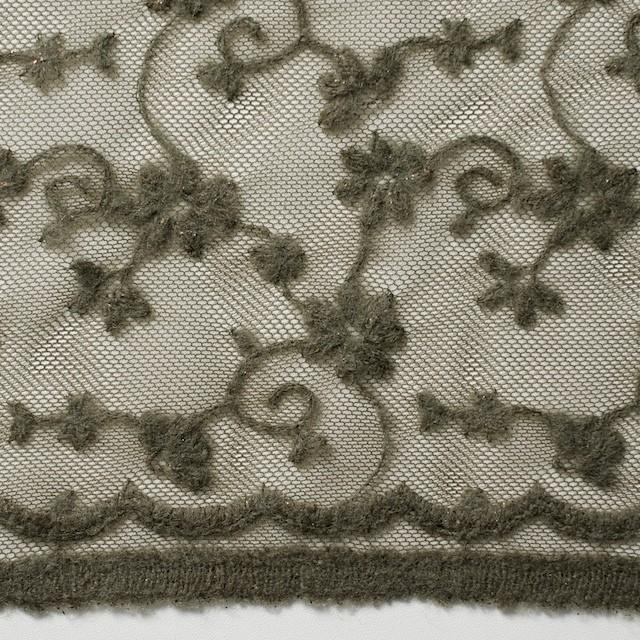 ナイロン×フラワー(カーキグリーン)チュール刺繍(着分) イメージ1