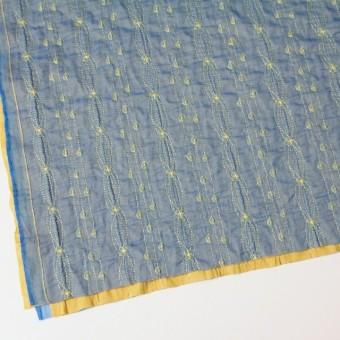 ポリエステル×幾何学模様(アクアブルー)×オーガンジー&ニット刺繍(着分) サムネイル2