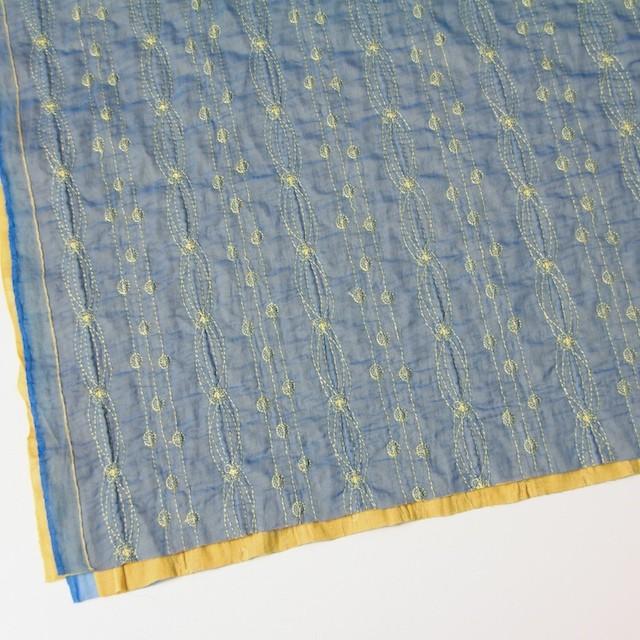 ポリエステル×幾何学模様(アクアブルー)×オーガンジー&ニット刺繍(着分) イメージ2