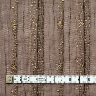 ポリエステル×幾何学模様(ミルクチョコ)×オーガンジー&チュール刺繍(着分) サムネイル4