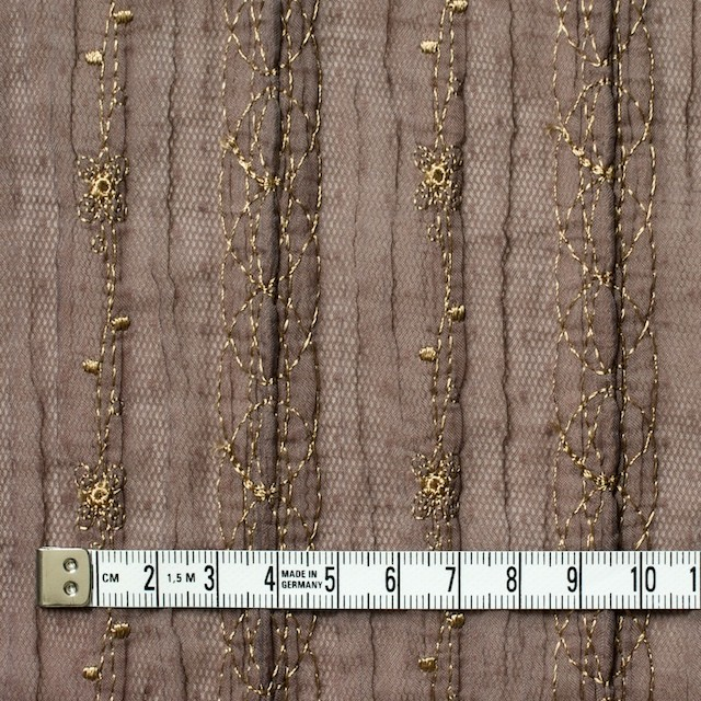 ポリエステル×幾何学模様(ミルクチョコ)×オーガンジー&チュール刺繍(着分) イメージ4