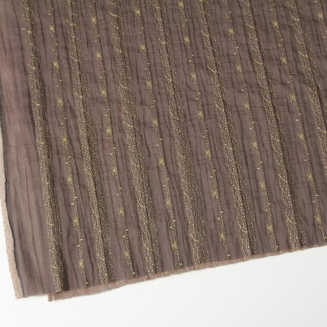 ポリエステル×幾何学模様(ミルクチョコ)×オーガンジー&チュール刺繍(着分) イメージ2