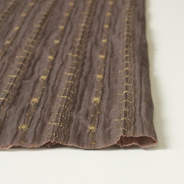 ポリエステル×幾何学模様(ミルクチョコ)×オーガンジー&チュール刺繍(着分) イメージ3
