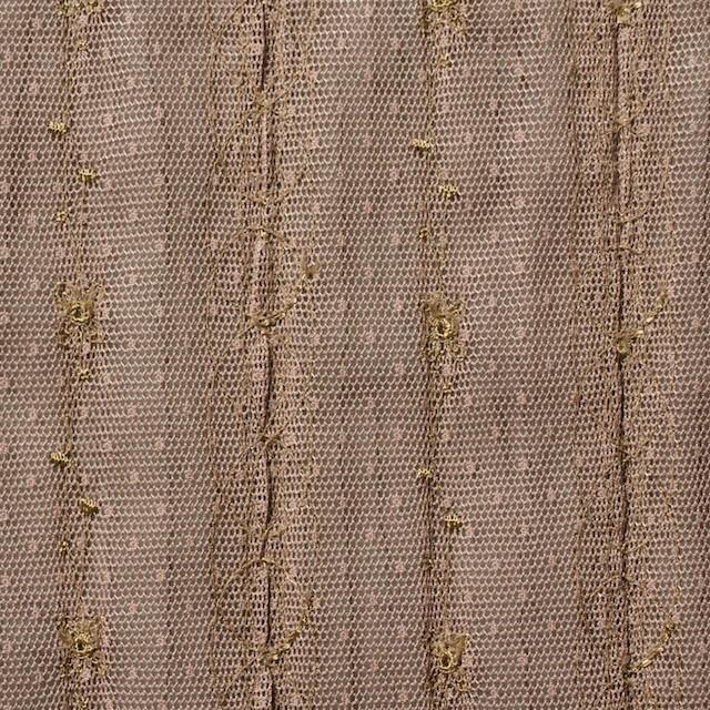 ポリエステル×幾何学模様(ミルクチョコ)×オーガンジー&チュール刺繍(着分) イメージ5