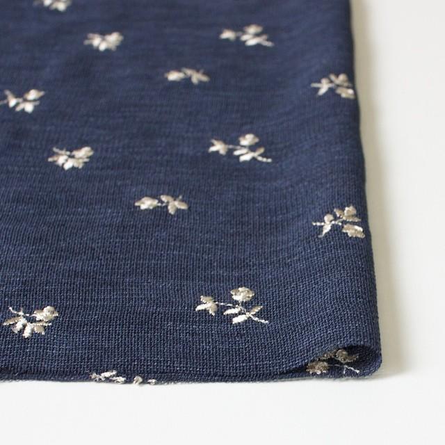 ポリエステル×フラワー(グレイッシュブルー)×メッシュ刺繍(着分) イメージ3