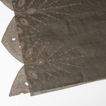 コットン×幾何学模様(カーキブラウン)×ボイル刺繍(着分) サムネイル2