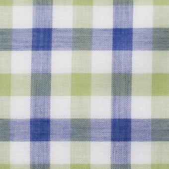 コットン×チェック(グリーン&ブルー)×Wガーゼ サムネイル1