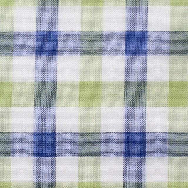コットン×チェック(グリーン&ブルー)×Wガーゼ イメージ1