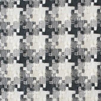 コットン&ポリエステル×幾何学模様(ライトグレー)×千鳥格子_全2色
