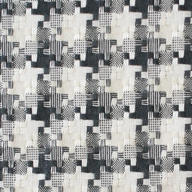 コットン&ポリエステル×幾何学模様(ライトグレー)×千鳥格子_全2色 イメージ1