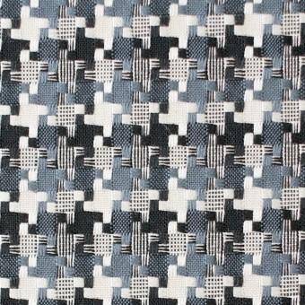 コットン&ポリエステル×幾何学模様(スレートグレー)×千鳥格子_全2色 サムネイル1