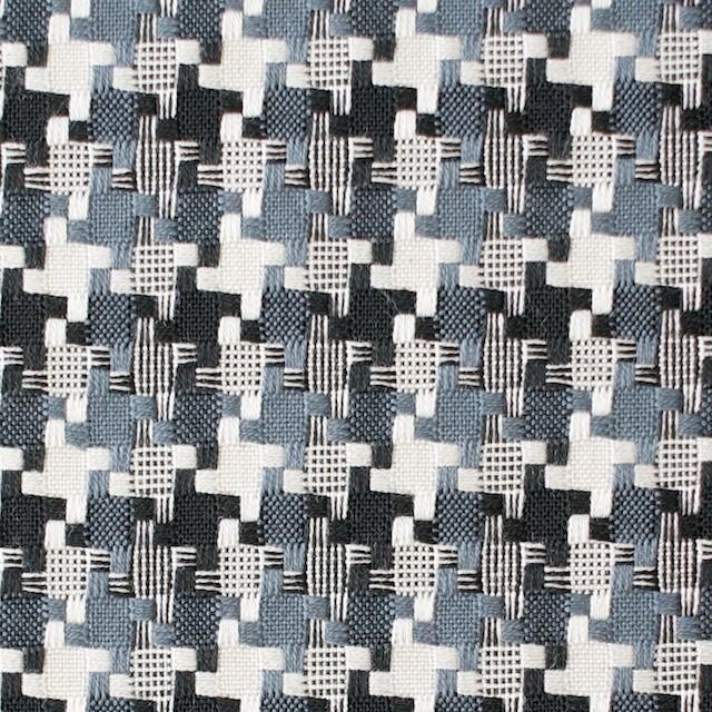 コットン&ポリエステル×幾何学模様(スレートグレー)×千鳥格子_全2色 イメージ1