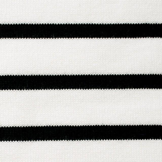 コットン×ボーダー(オフホワイト&ブラック)×天竺ニット イメージ1