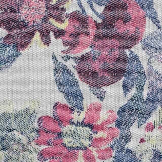 コットン&ポリエステル×フラワー(ラスティレッド)×ダンガリープリント_全2色 イメージ1