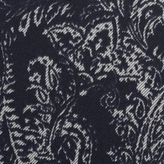 コットン&ポリウレタン×ペイズリー(ネイビー)×サテンストレッチ_全2色 サムネイル1
