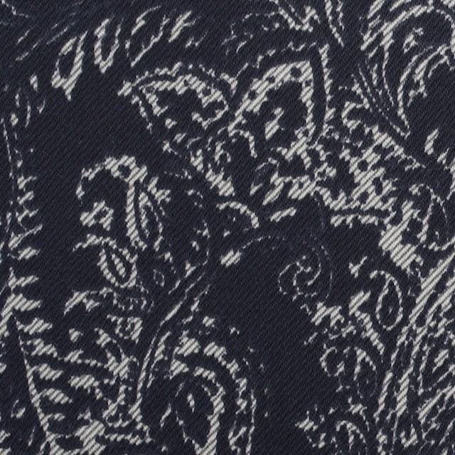 コットン&ポリウレタン×ペイズリー(ネイビー)×サテンストレッチ_全2色 イメージ1