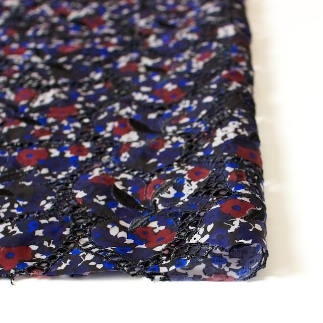 キュプラ×フラワー(ネイビー)×ローン刺繍 イメージ3