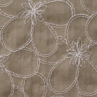 コットン×フラワー(カーキベージュ)×ローンリップル刺繍_全3色 サムネイル1