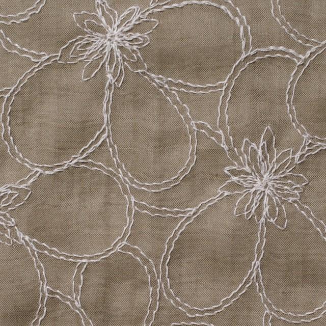 コットン×フラワー(カーキベージュ)×ローンリップル刺繍_全3色 イメージ1
