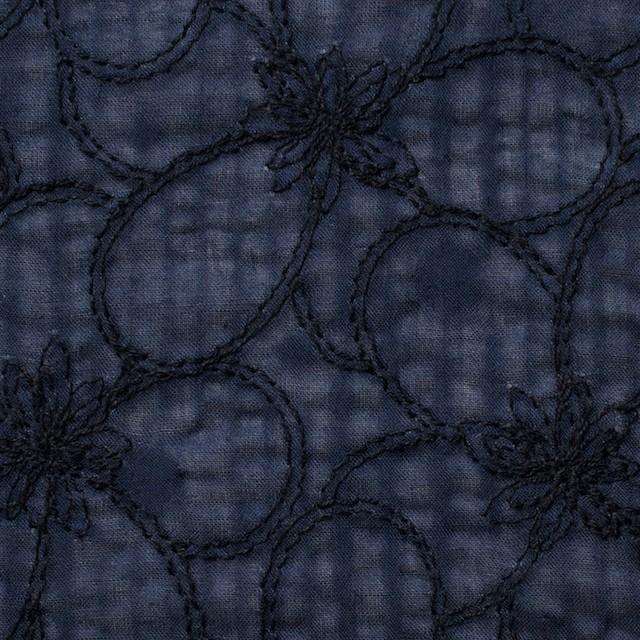 コットン×フラワー(ネイビー)×ローンリップル刺繍_全3色 イメージ1