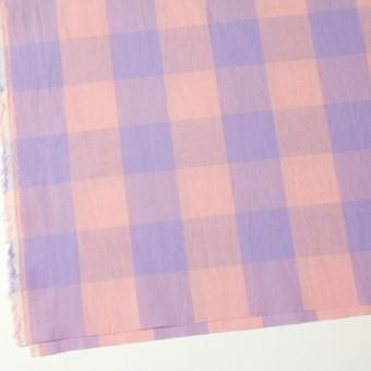 コットン&リネン×ブロックチェック(サーモンピンク)×シーチングワッシャー_全3色 サムネイル2