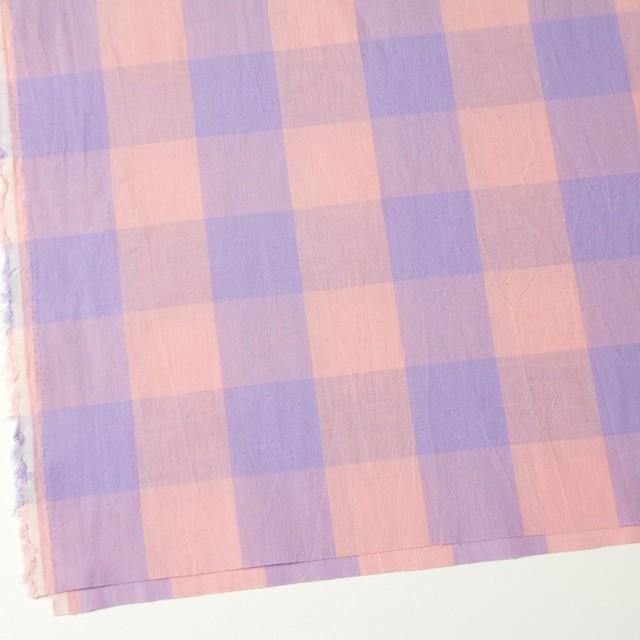 コットン&リネン×ブロックチェック(サーモンピンク)×シーチングワッシャー_全3色 イメージ2