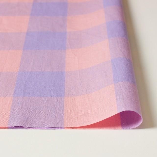 コットン&リネン×ブロックチェック(サーモンピンク)×シーチングワッシャー_全3色 イメージ3