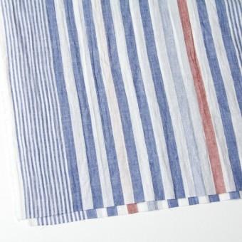 コットン&リネン×ストライプ(ブルー&レッド)×薄シーチングワッシャー_全5柄 サムネイル2