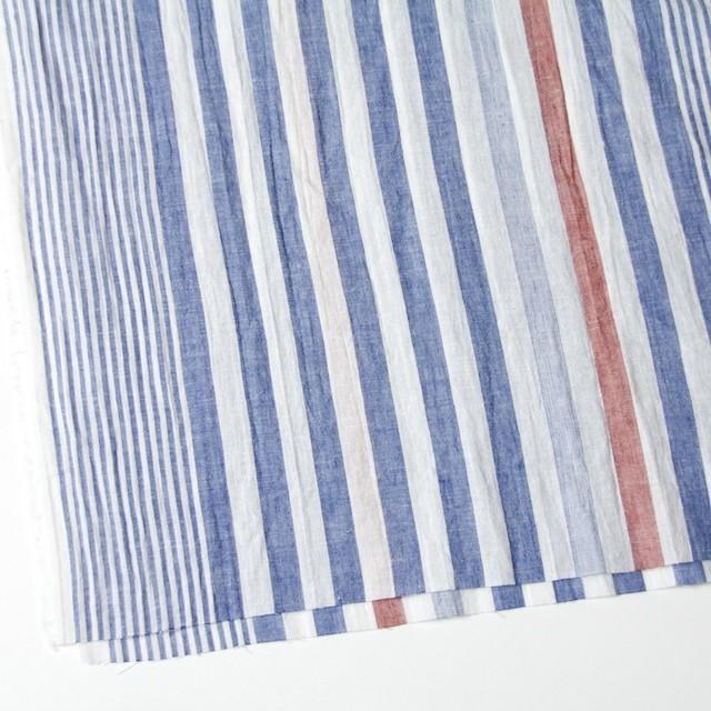 コットン&リネン×ストライプ(ブルー&レッド)×薄シーチングワッシャー_全5柄 イメージ2