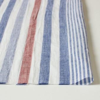 コットン&リネン×ストライプ(ブルー&レッド)×薄シーチングワッシャー_全5柄 サムネイル3