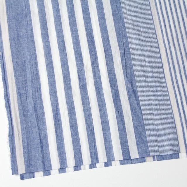 コットン&リネン×ストライプ(ブルー&ライトグレー)×薄シーチングワッシャー_全5柄 イメージ2