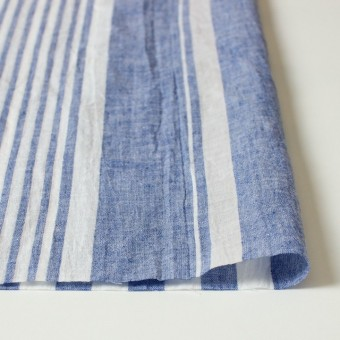 コットン&リネン×ストライプ(ブルー&ライトグレー)×薄シーチングワッシャー_全5柄 サムネイル3
