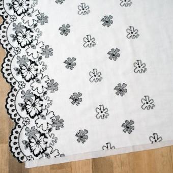 コットン×フラワー(オフホワイト&ブラック)×ボイル刺繍 サムネイル2