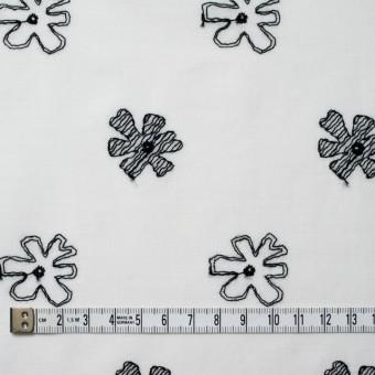 コットン×フラワー(オフホワイト&ブラック)×ボイル刺繍 サムネイル5