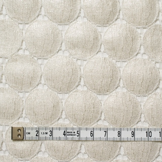キュプラ&ナイロン×輪模様(オフホワイト+シルバーラメ箔)×ラッセルレース_全2色 イメージ4