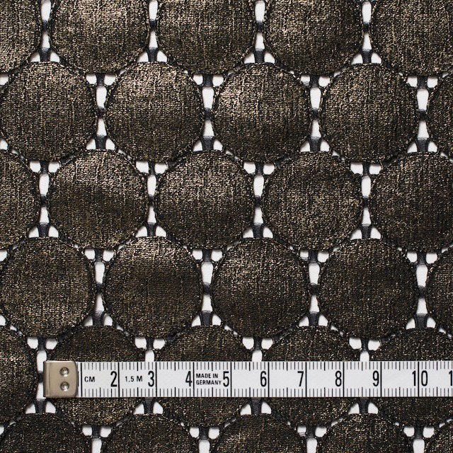 キュプラ&ナイロン×輪模様(ブラック+ゴールドラメ箔)×ラッセルレース_全2色 イメージ4