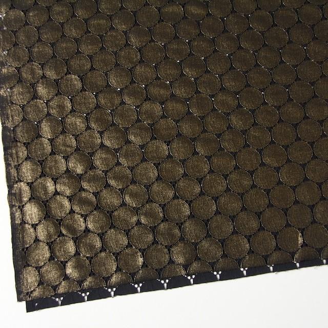 キュプラ&ナイロン×輪模様(ブラック+ゴールドラメ箔)×ラッセルレース_全2色 イメージ2