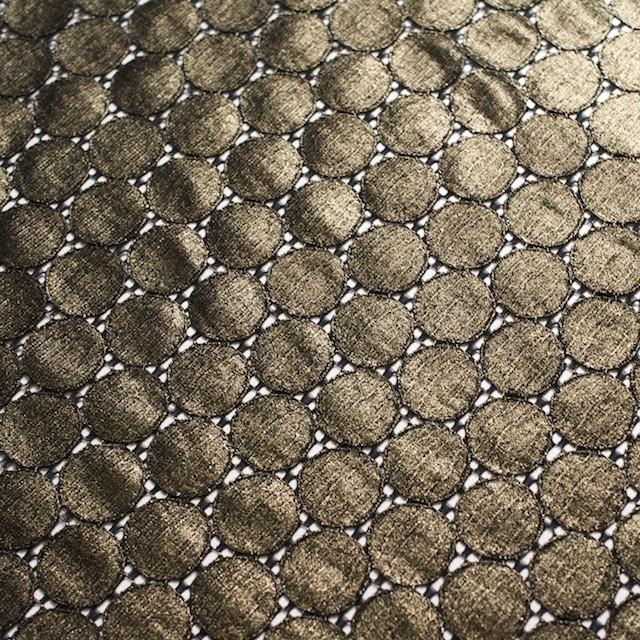 キュプラ&ナイロン×輪模様(ブラック+ゴールドラメ箔)×ラッセルレース_全2色 イメージ5